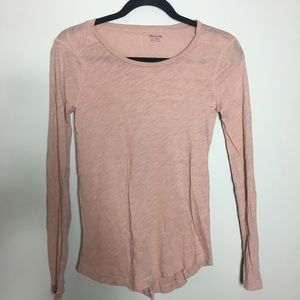 Madewell pale pink long sleeves top XXS